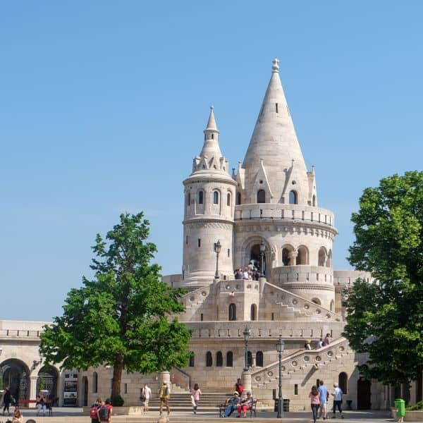 view of towers of Fisherman's Bastion in Budapest, Hungary