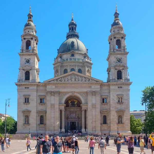Front view of St. Stephen's Basilica with crowd in Budapest, Hungary