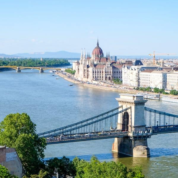 View of Danube river, Chain Bridge, Parliament, and Margaret Island, from Buda, Budapest, Hungary