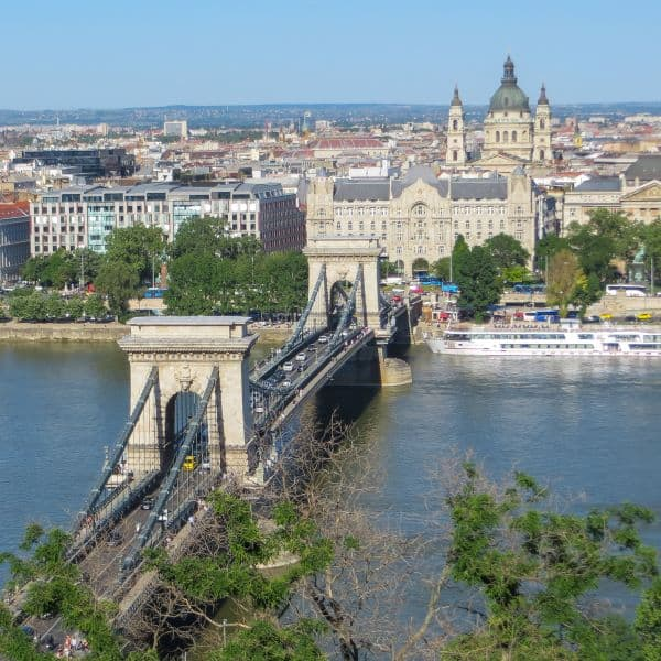 View of Danube river, Chain Bridge, Gresham Palace and St. Stephen's Basilica from Buda, Budapest, Hungary