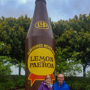 The Giant L & P bottle in Paeroa. Ohinemuri Park Lemon & Paeroa bottle