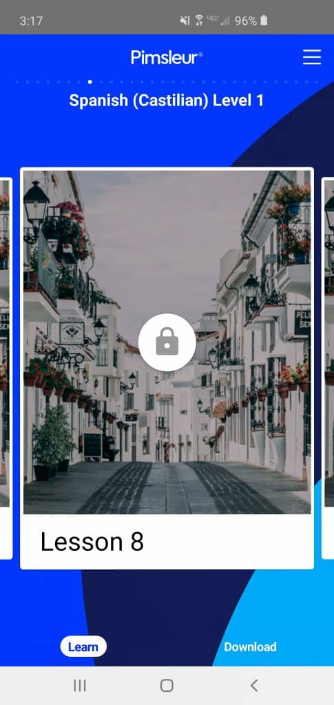 screenshot of spanish lesson from Pimsleur language app