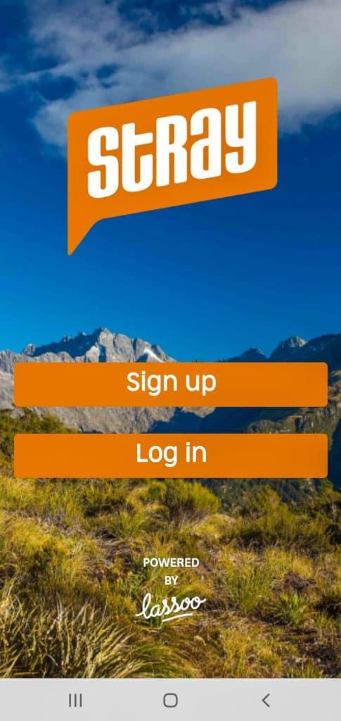 screen shot of the Stray Mate NZ App login screen