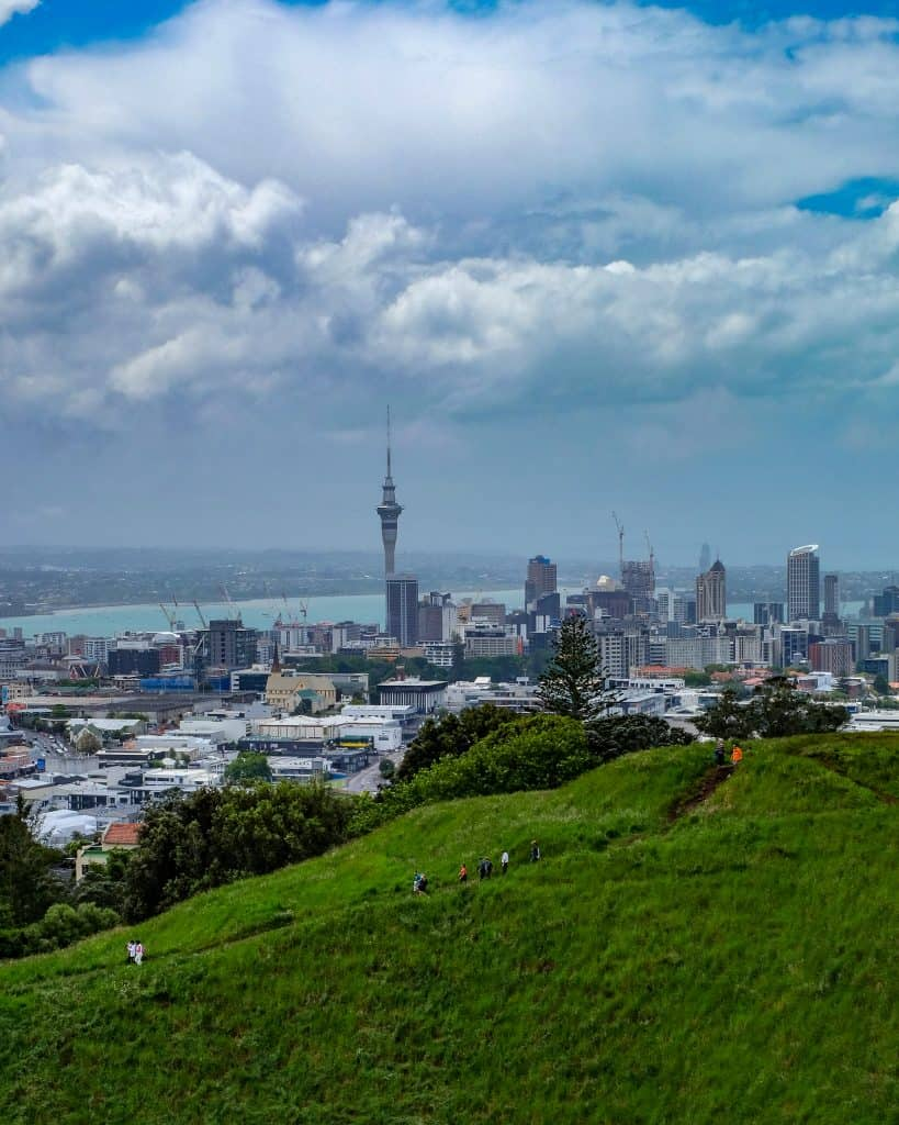 View of Auckland city center from Mount Eden park.