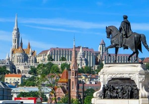 View from Kossuth square in Budapest, Hungary, looking at equestrian statue of Kossuth, Matthias Church, and Fisherman's Bastion.