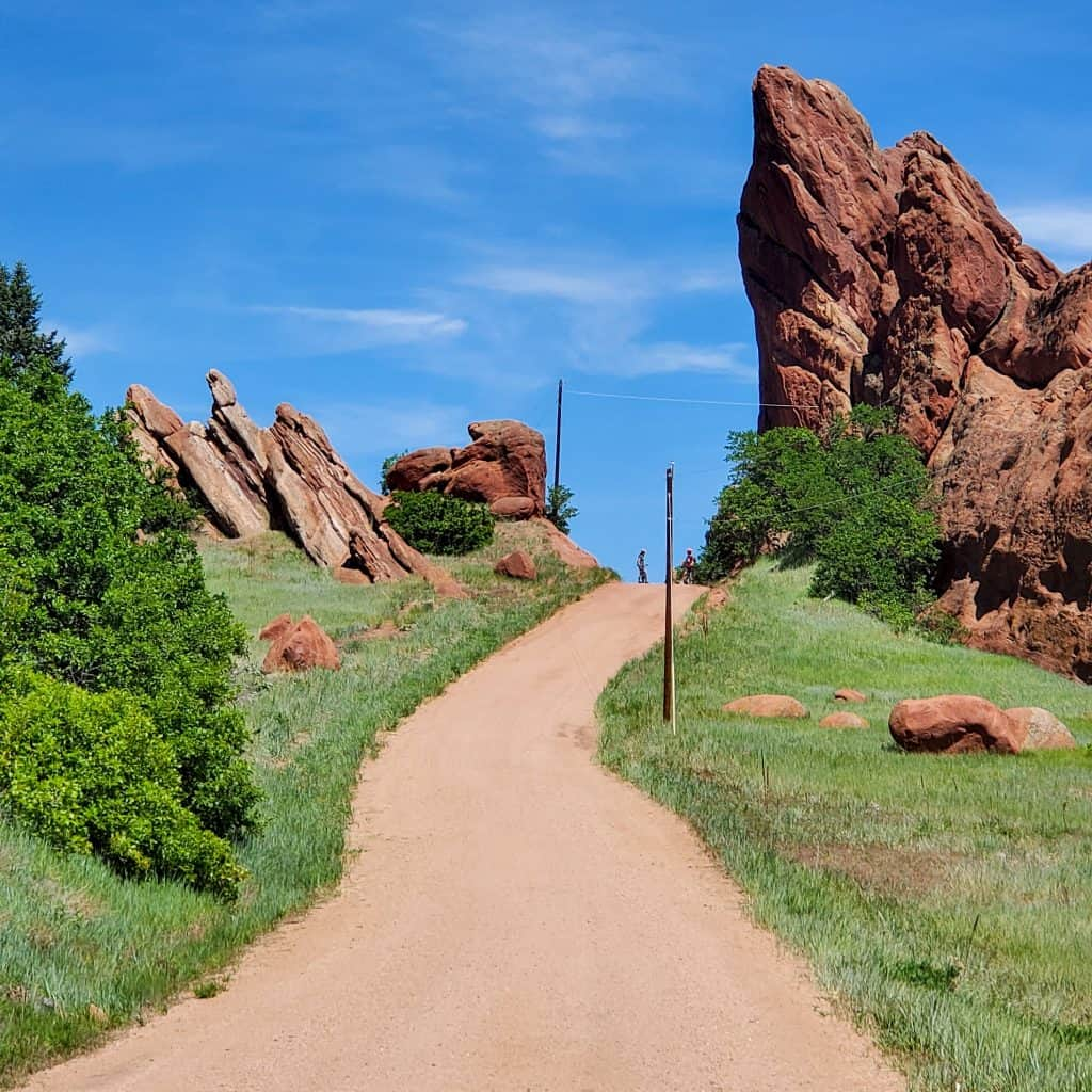 Red sandstone rock formations are seen while hiking in Roxborough State Park, Douglas County, Colorado.