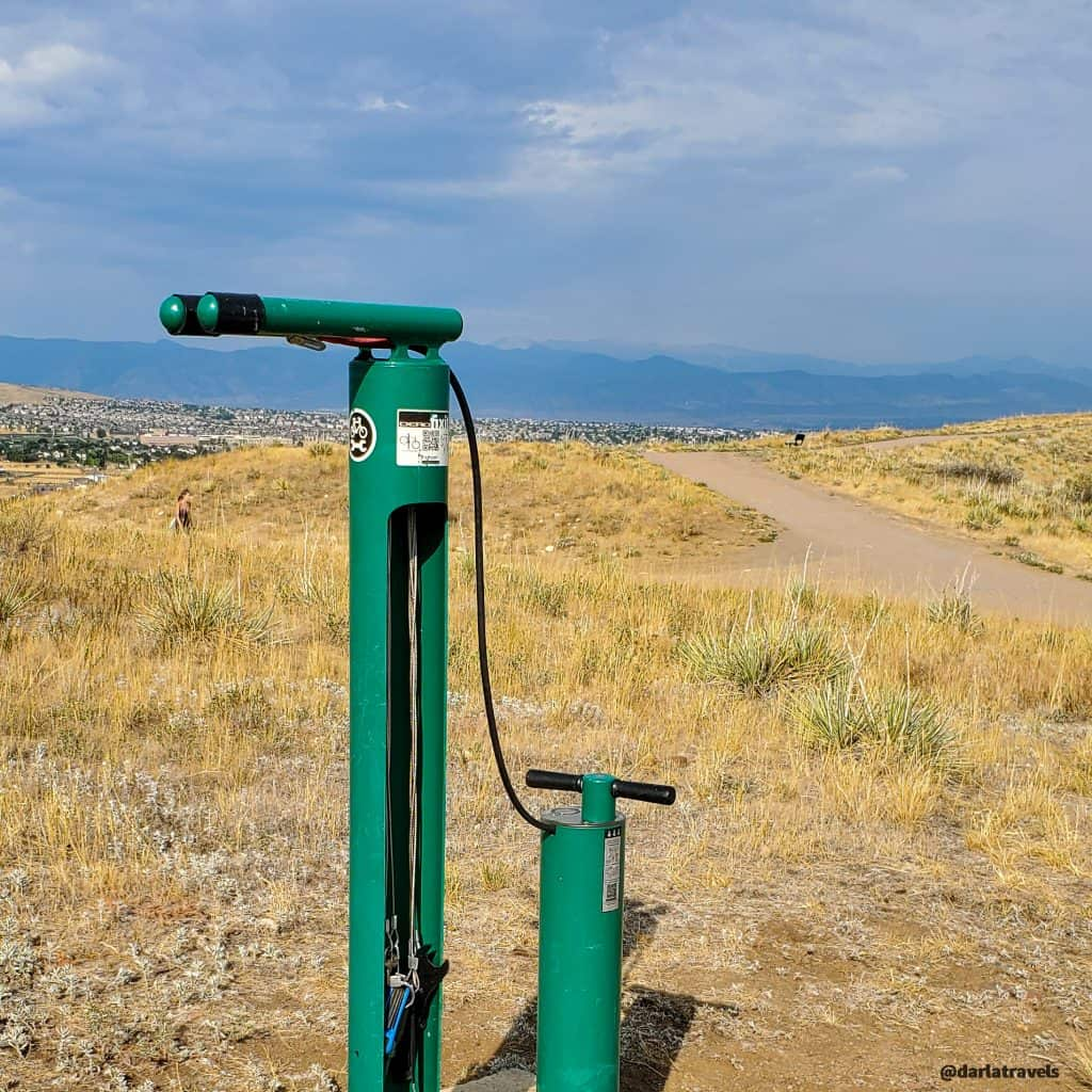 outdoor bicycle repair station Bluffs Regional Park, Douglas County, Colorado