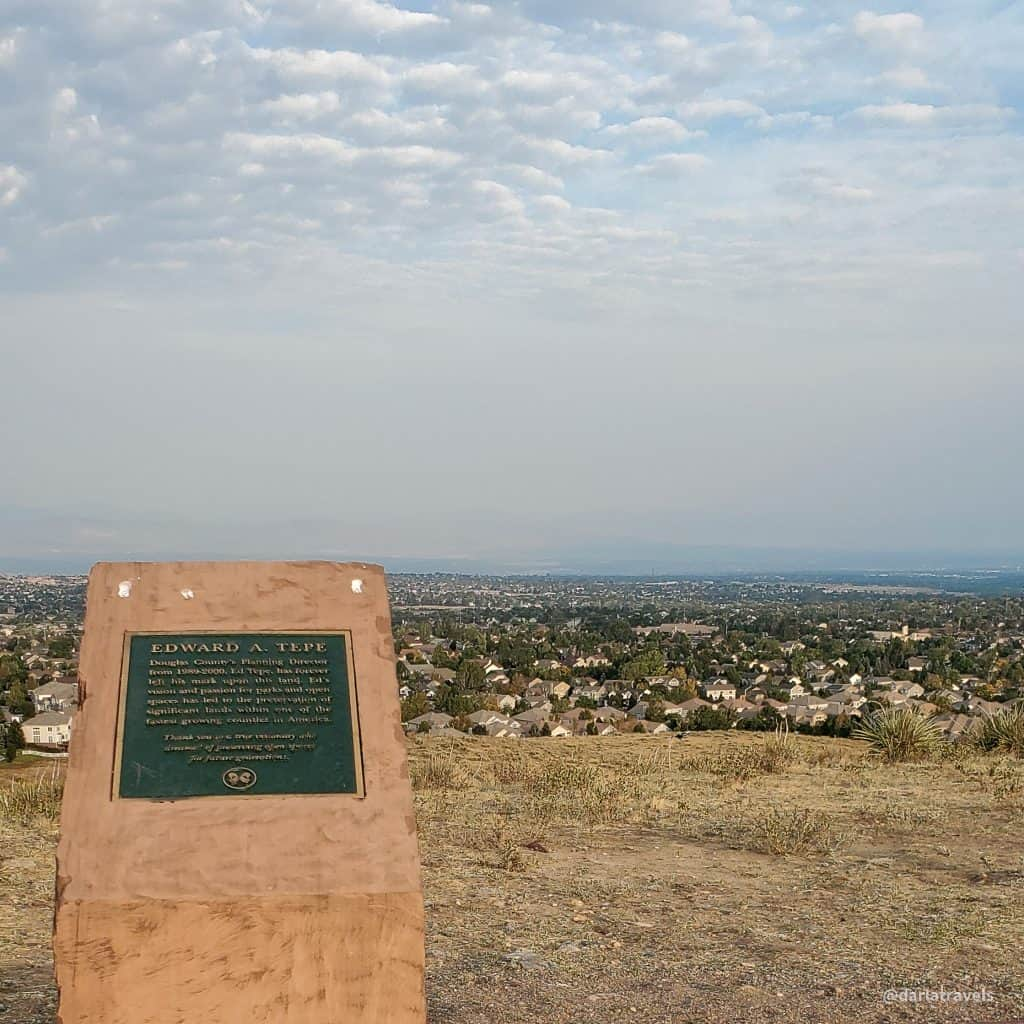 Bluffs Regional Park, Douglas County, Colorado, view from Tepe Overlook Trail, to the west, monument to planner Edward Tepe