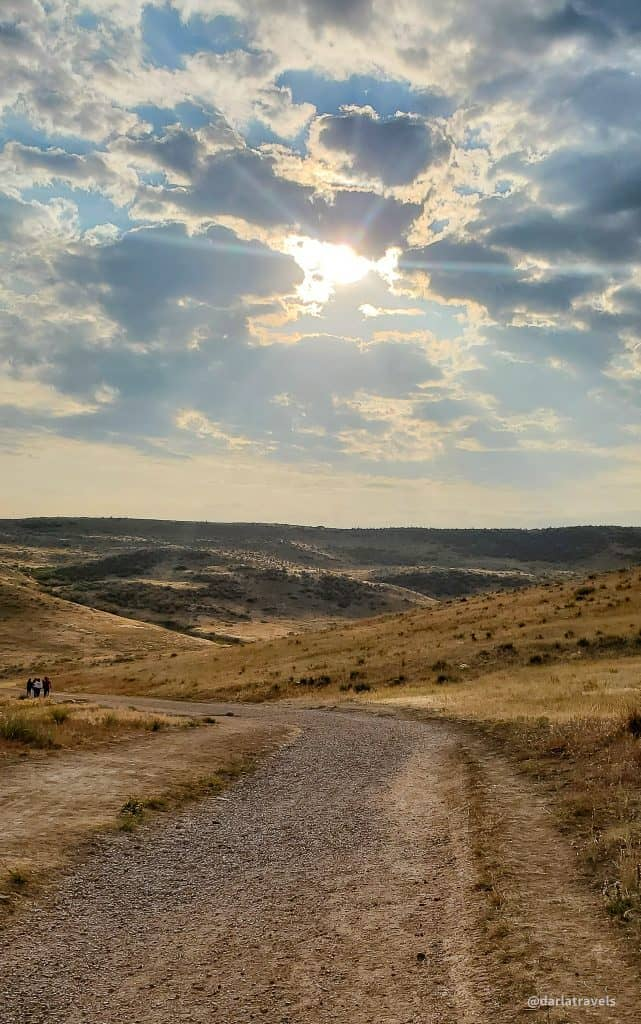 Bluffs Regional Park, fall morning hike with sun peeking through the clouds, Douglas County, Colorado