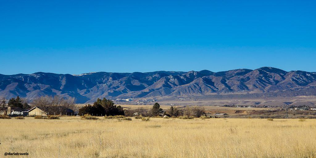 View of the Front Range of the Rocky Mountains from the East-West Regional Trail in Douglas County, Colorado