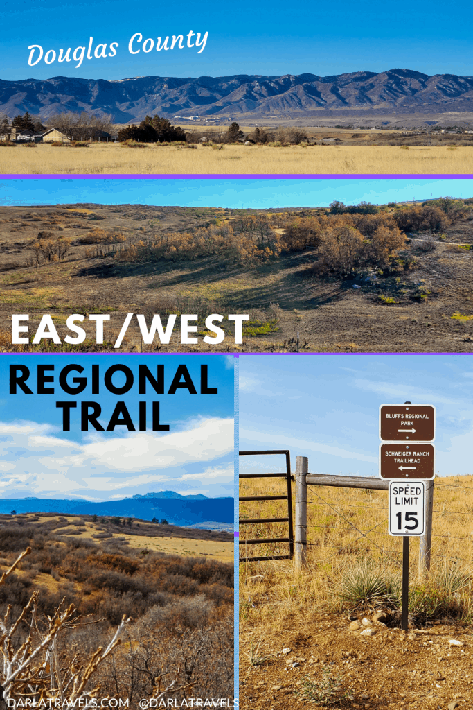 Photos from hikes on the East/West Regional Trail in Douglas County, Colorado; view of Rocky Mountains, native plants and landscapes and trail direction signs
