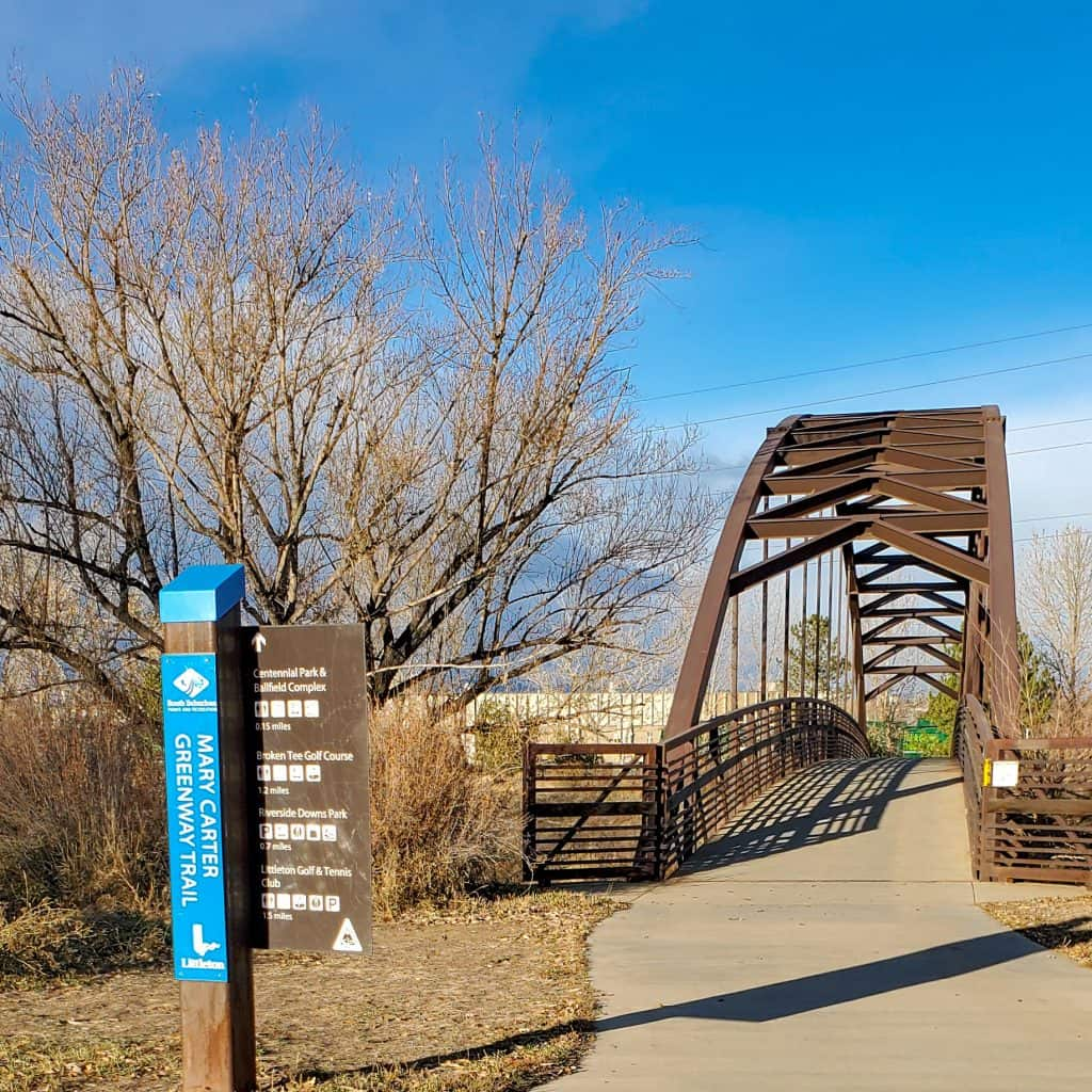Pedestrian Bridge over the South Platte River, connections to Mary Carter Greenway Trail and BIg Dry Creek Trail.