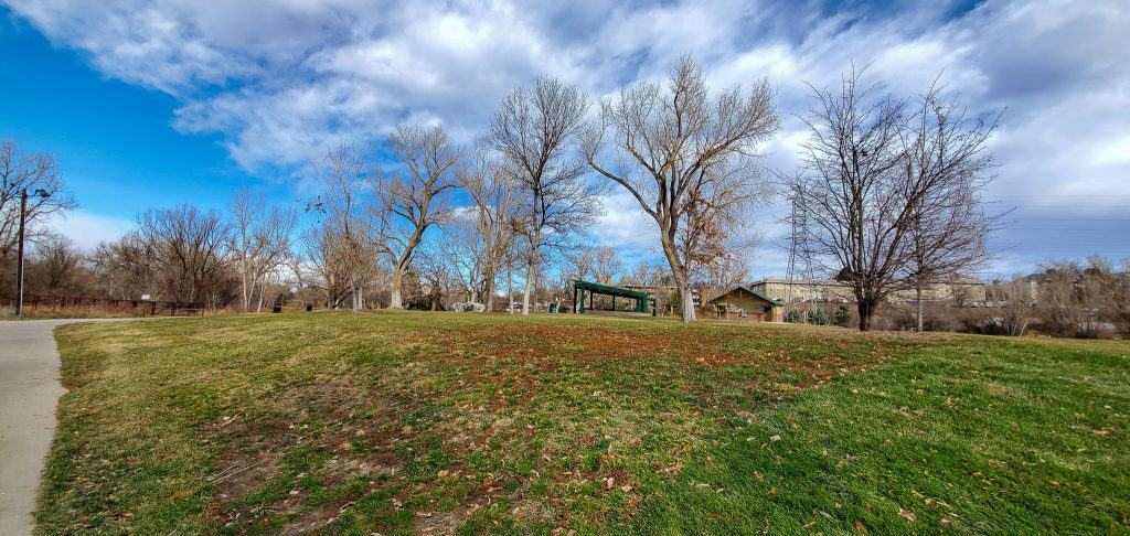 Progress Park, Englewood, Colorado, Green grass, trees, shelter, sidewalk