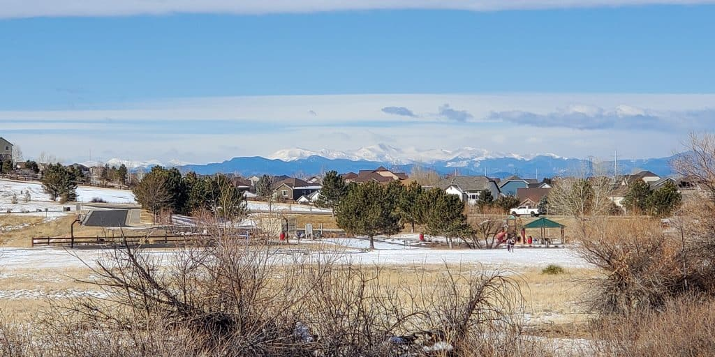 View of the Rocky Mountains from the eastern edge of Parker