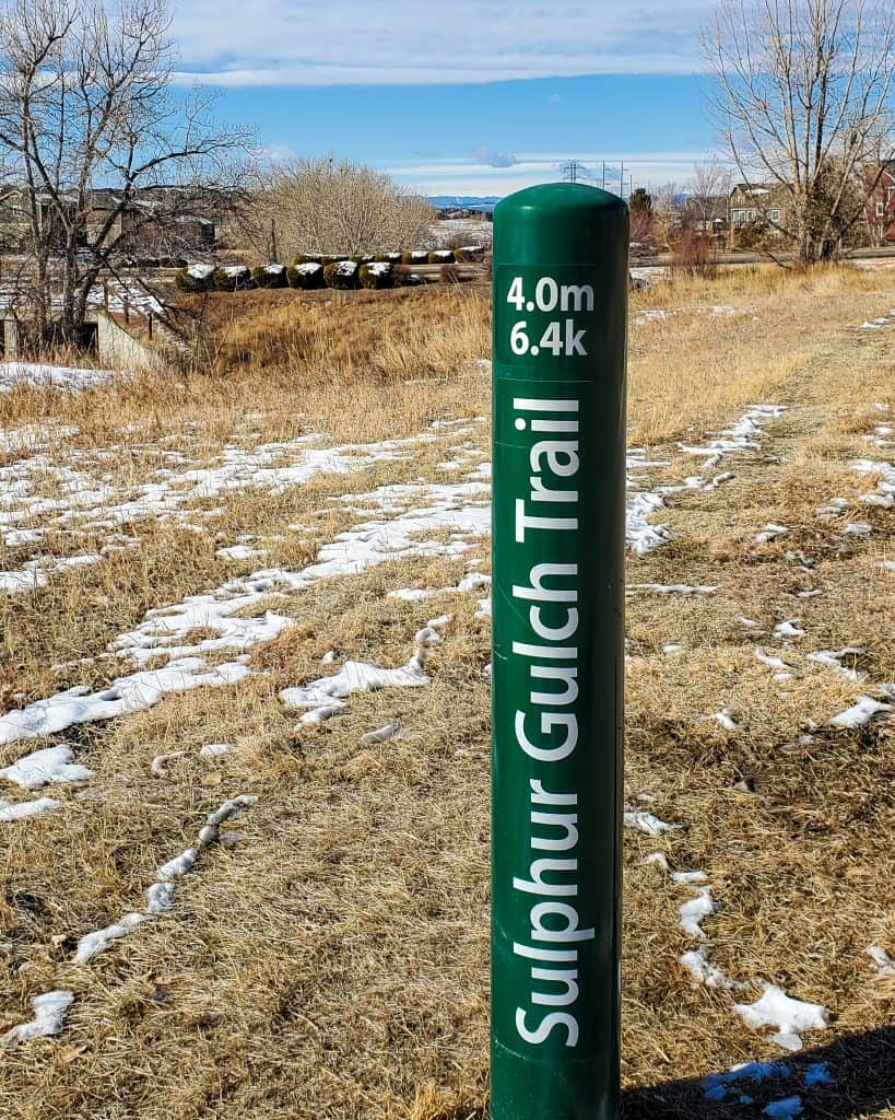 Mile Marker for 4.0 miles on the Sulphur Gulch Trail