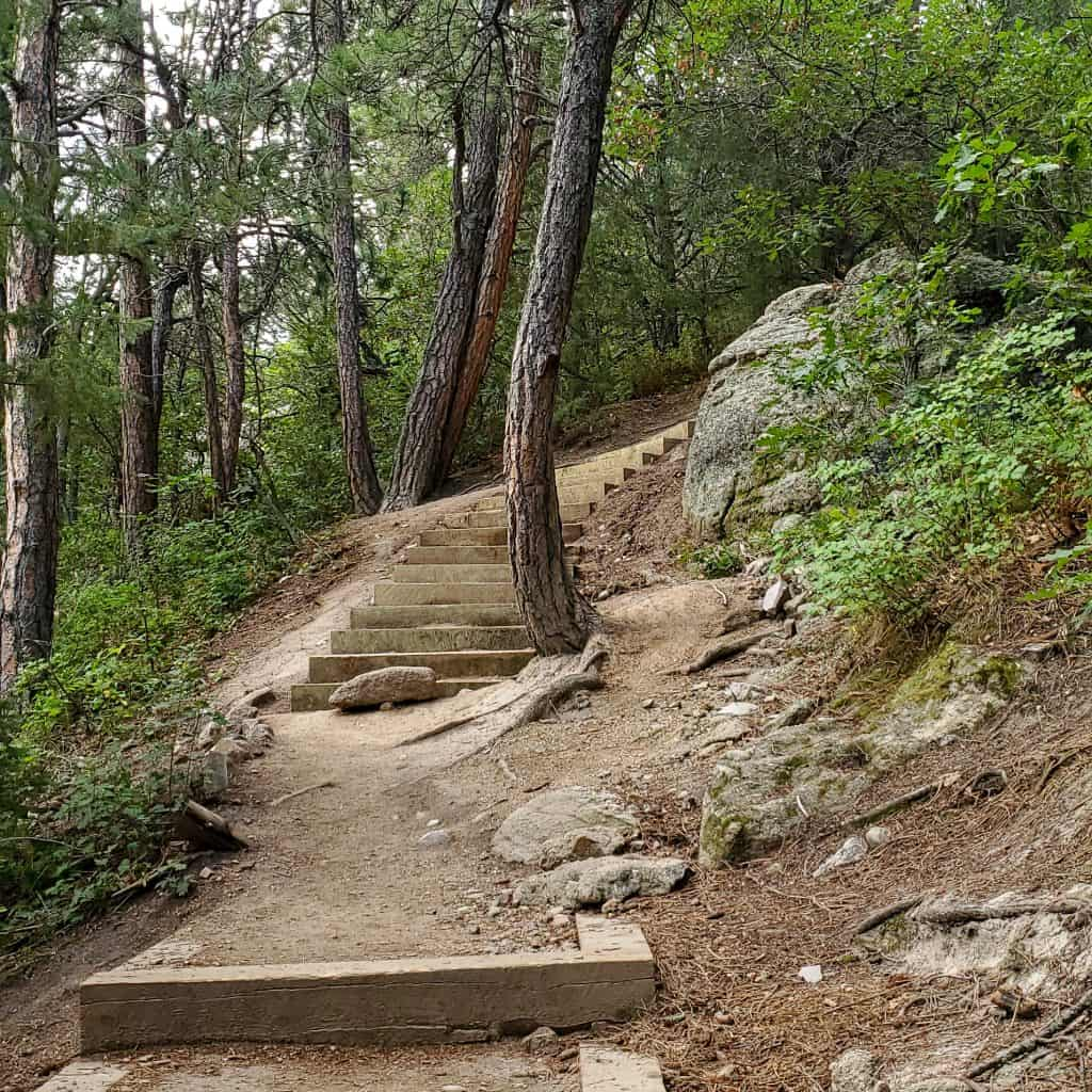 Hiking in Colorado State Parks; Inner Canyon Trail in Castlewood Canyon State Park.  steps built into a hill
