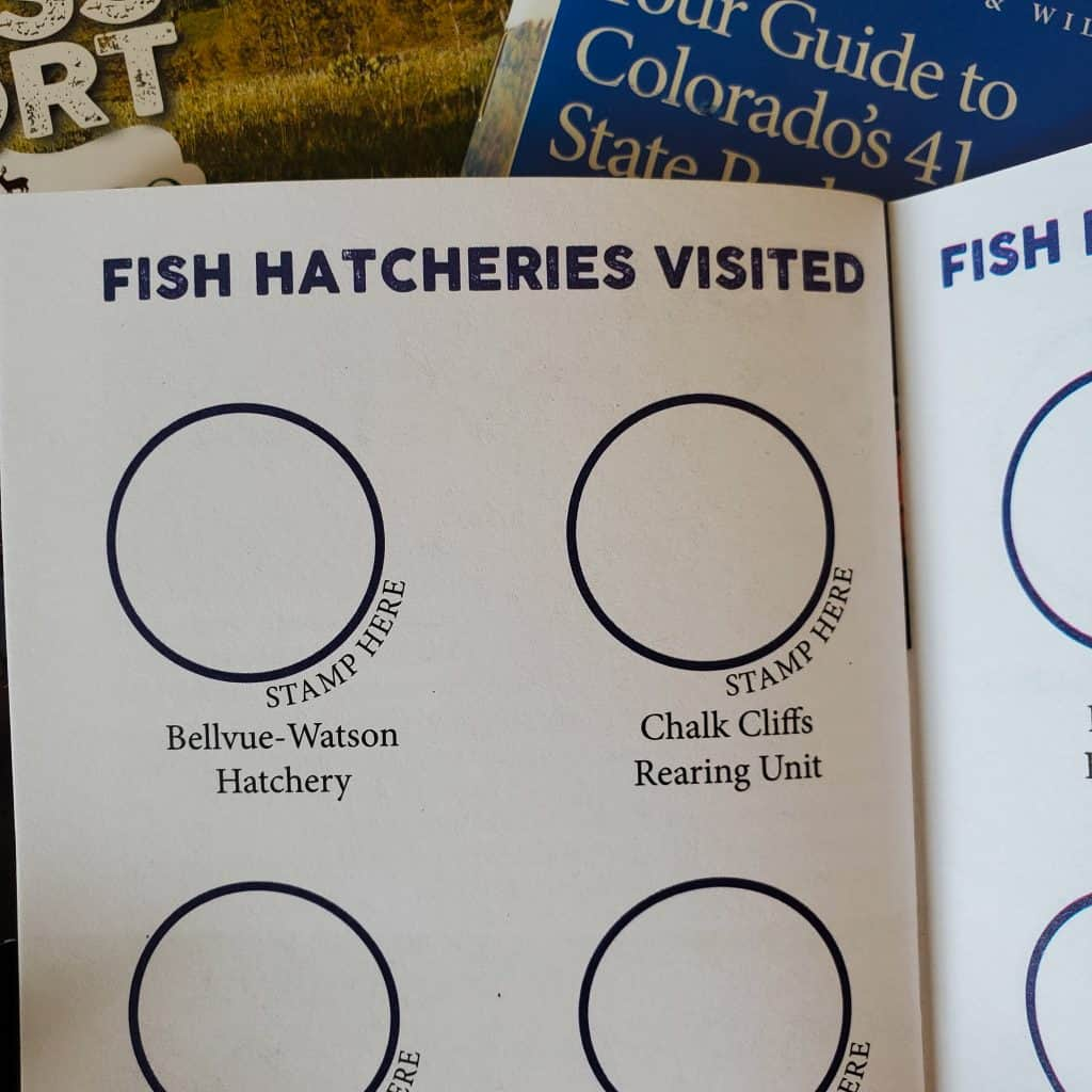 Covers of Colorado Parks and Wildlife's publications Colorado State Parks & Hatcheries Passport,, Fish Hatcheries Visited Page