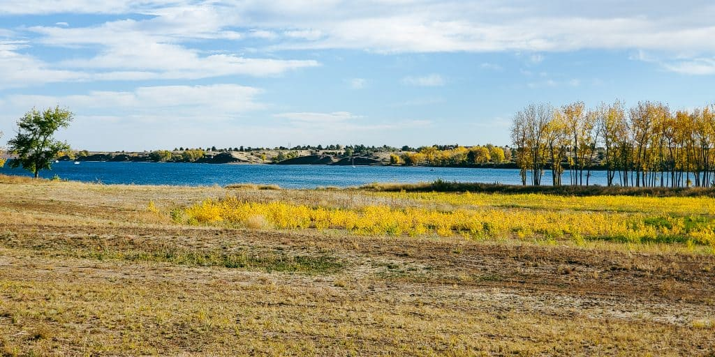 View of Chatfield Reservoir from the Chatfield Internal trail in the fall; in Chatfield State Park