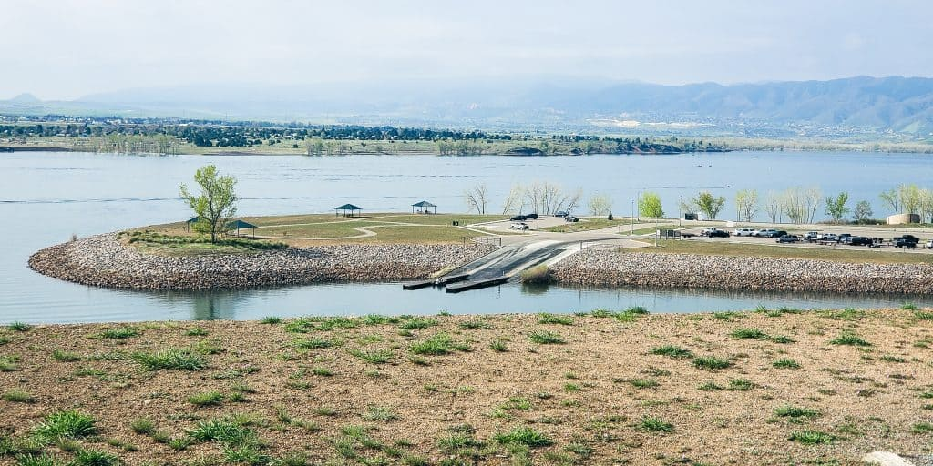 View of Chatfield Reservoir from the Chatfield Darm trail in the spring; in Chatfield State Park; boat launch;