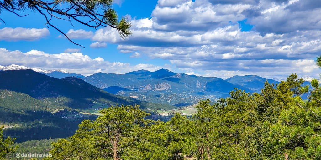 View of the Rocky Mountains from the tower at Mount Falcon Park, Jefferson County, Colorado, spring