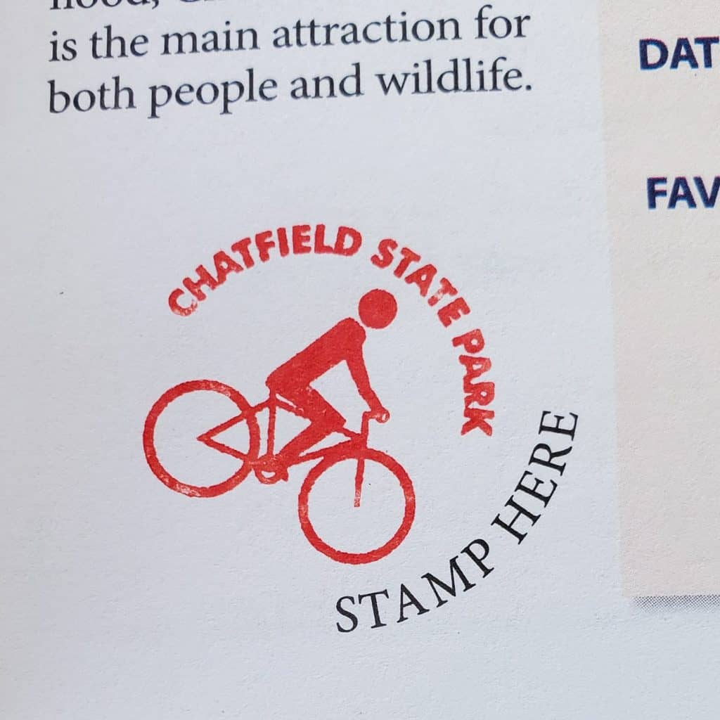 Colorado State Parks Passport, page for Chatfield State Park