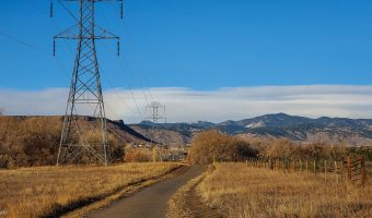 Transmission Lines and North Table Mountain seen from Van Bibber Park Trail