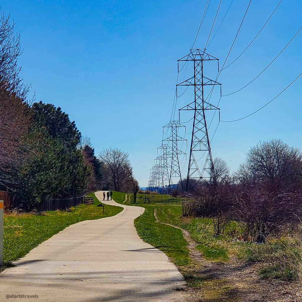 paved trail and transmission towers in Van Bibber Park, Jefferson County, Colorado