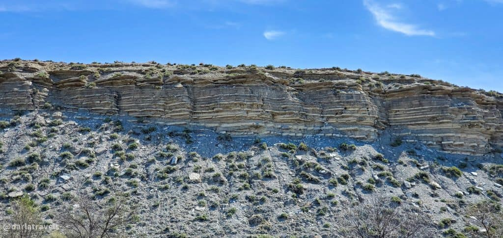 Layers of sedimentary rock in Rock Canyon and the site of the Cenomanian-Turonian  Global Boundary Stratotype Section and Point (GSSP) in Lake Pueblo State Park